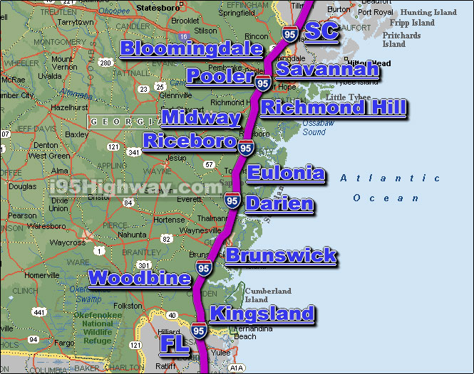 Interstate 95 GA Driving Distance