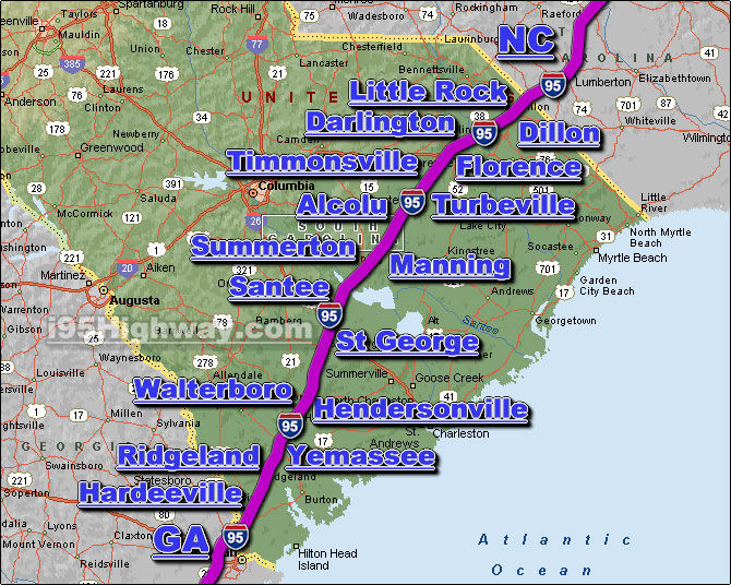 I 95 Georgia Map I 95 South Carolina Driving Distance